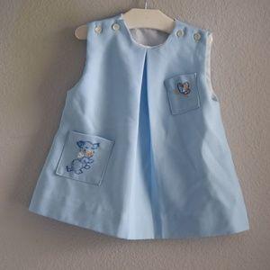 Vintage Baby Girl Blue Dress Embroidered Pockets